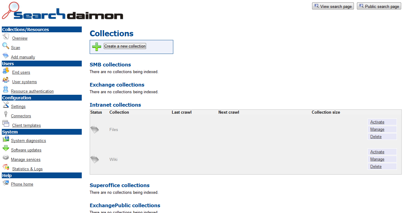 Searchdaimon main admin interface