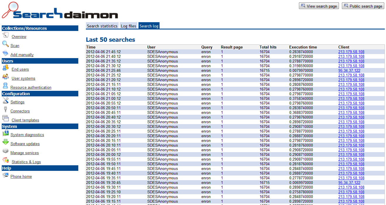 Searchdaimon log of end users querys