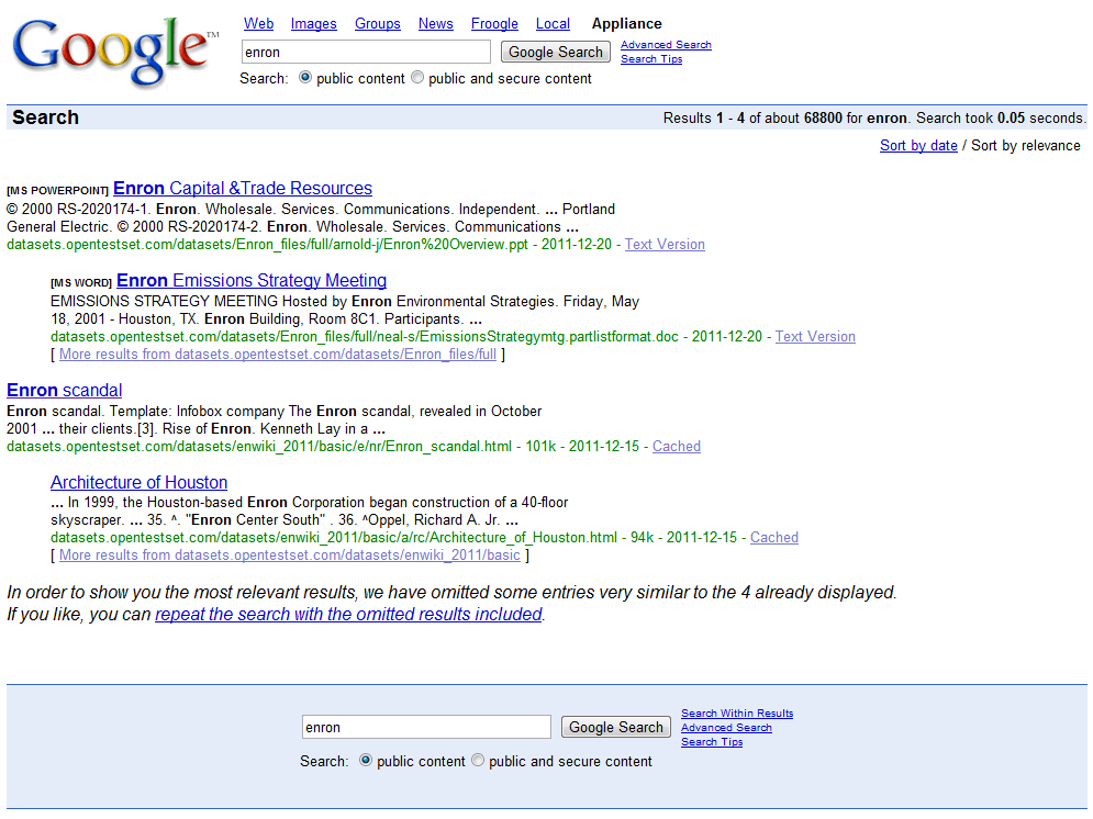 Google Mini search results