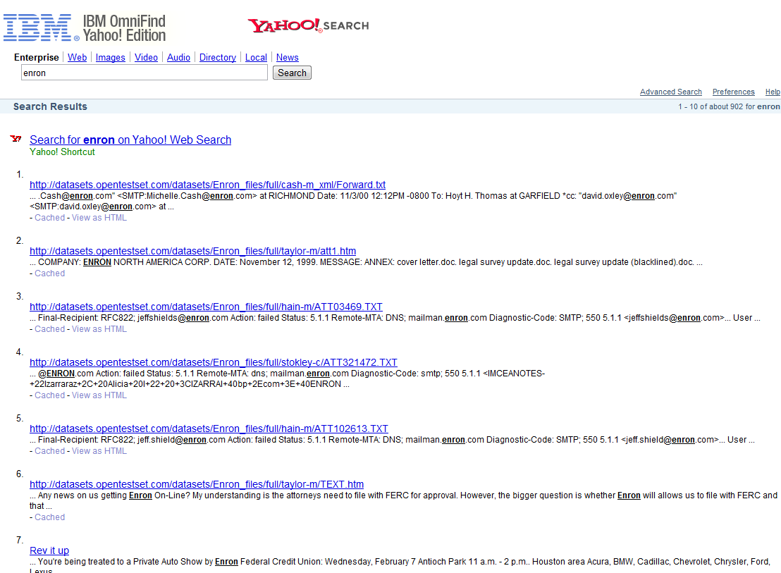Example of Omnifind Yahoo search result page